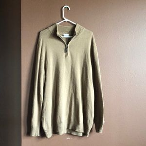 Columbia Tan Quarter Zip Sweater XL